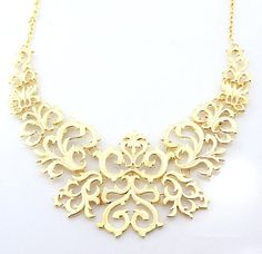 Gold filigree statement necklace gold bib necklace by RunwayPixie, $14.00