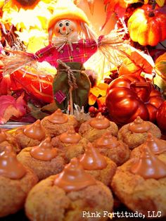 Pumpkin Snickerdoodle Hershey Kiss Drop Cookie Recipe by coconutheadsurvivalguide.com #fall #autumn