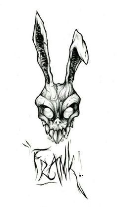 Donnie Darko was one of my favorite movies. Frank the rabbit looks so badass I want that costume. I would get this without frank though. Creepy Drawings, Creepy Art, Cool Drawings, Pencil Drawings, Gothic Drawings, Arte Horror, Horror Art, Skull Tattoos, Body Art Tattoos