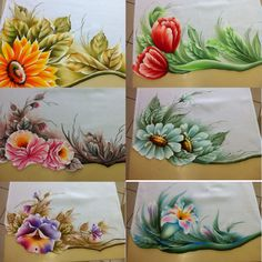 Panos de prato One Stroke Painting, Fabric Painting, Painted Bags, Hand Painted, Fabric Paint Shirt, Fabric Paint Designs, Cafe Art, Flower Coloring Pages, China Painting