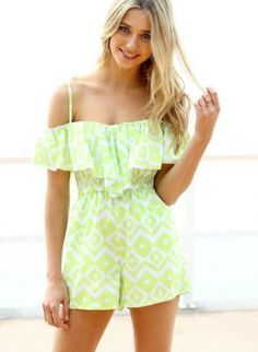 Green Jump Suits/Rompers - Neon Geometric Print Sleeveless Playsuit http://www.ustrendy.com/store/product/93650/neon-geometric-print-sleeveless-playsuit-with-frill-detail