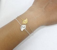 Personalized Sparrow Bracelet Set 2 Two -Gold Silver Bird Bracelet .Frendship Bracelets, Initial Jewelry Etsy,Bangle Cuff Personalized Gift on Etsy, $29.99