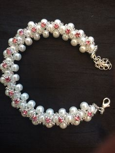 Handmade by myself glass pearls and Swarovski crystal