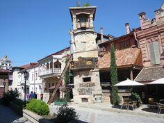 Disheveled clock tower of Tbilisi's puppet theatre. Rezo Gabriadze
