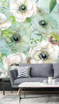 Stunning Anemonies and Ranunculus wall mural from Wallsauce. This high quality Anemonies and Ranunculus wallpaper is custom made to your dimensions. Easy to order and install plus free UK delivery. This Wall Mural – Anemonies and Ranunculus perfect as Spr Wallpaper Decor, Green Wallpaper, Flower Wallpaper, Wallpaper Wallpapers, Trendy Living Room Wallpaper, Feature Wall Bedroom, Cool Walls, Designer Wallpaper, Wall Murals