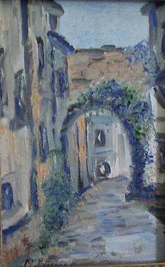 Italian village oil on canvas.