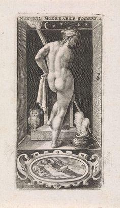 Crispijn van de Passe (I) | Nacht, Crispijn van de Passe (I), 1574 - 1637 | Nis met de vrouwelijke personificatie van de Nacht, met sterren rond haar hoofd. In haar hand houdt ze een brandende fakkel. Aan haar voeten een uil en een vuurpot. In de cartouche onder de nis Venus en Amor.
