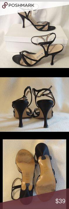 "Sexy Luca Luca Black Satin Sandals Size 36.5 Luca Luca Black Satin Sandals Size 36.5  Heels 3.75""  Gently used Condition  NO TRADES (S057) Luca Luca Shoes"