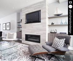 """"""" We are loving this cozy open concept family room by ft ErthCOVERINGS Silver Fox Large Format Strips o. """" We are loving this cozy open concept family room . Linear Fireplace, Basement Fireplace, Family Room Fireplace, Home Fireplace, Fireplace Remodel, Fireplace Surrounds, Fireplace Design, Fireplace Ideas, Custom Fireplace"""