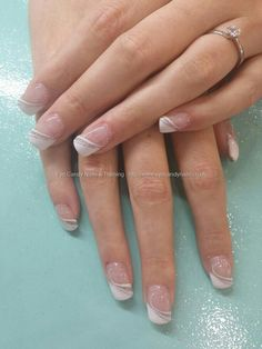 Alternative white french with silver Taken PM Uploaded PM Technician:Elaine Moore French Manicure Nails, French Tip Nails, Gel Nails, French Nail Art, Fabulous Nails, Gorgeous Nails, Cute Nails, Pretty Nails, Diy Nagellack