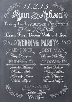 Custom Wedding Bridal Party Chalkprint Program Sign- Wedding Party Sign (pdf…