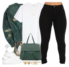 """""""Yeezy   07 17 16"""" by kahla-robyn ❤ liked on Polyvore featuring H&M, Mansur Gavriel, adidas, Eddie Borgo, Cartier and Jennifer Zeuner"""