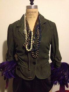 Donna Karan Olive Green Italian Lamb Suede Leather Jacket 3/4 sleeves Sz 6 #DonnaKaran #BasicJacket