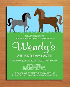 Horse Invitations Free Templates Birthday Invitation Ideas
