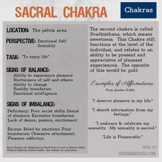 The Sacral Chakra is the 2nd of  seven levels of consciousness in this philosophical model for balancing your energy.  (Sources: Eastern Body, Western Mind and Chakras for Beginners.)