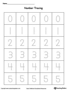Learn to write and identify numbers by practicing tracing numbers 0 through 5 in this printable worksheet.