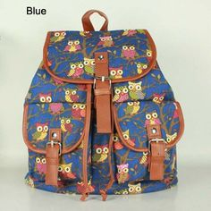 Anti Theft Drawstring Backpack Female Vintage Owl Canvas Backpack 35b390a60c685