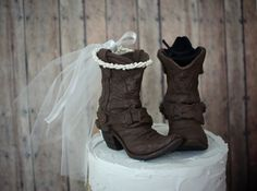 Bride And Goom Original Design Western Wedding Boots Cowboy Cowgirl Cake Topper Rustic