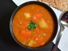 THIS IS MY FAVORITE RECIPE WHICH JUST HAPPENS TO BE VEGAN.  Very quick, easy and delicious and hearty.  Everyone loves it.  I make it once a week!! Vegan Soups, Vegan Dishes, Vegan Food, Red Lentil Soup, Paprika Potatoes, Soup Recipes, Whole Food Recipes, Vegetarian Recipes, Lentil Recipes