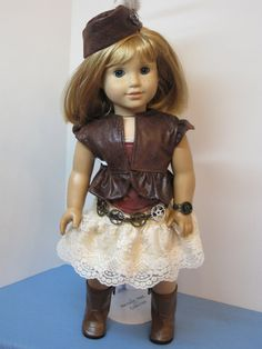 Made to fit the 18 American Girl doll. This is a fun outfit that can be worn several ways. Corset is reversible, skirt is also reversilbe. Corset
