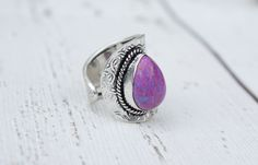 beautiful adjustable silver overlay purple copper turquoise ring