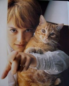 Sylvie Vartan and her cat.