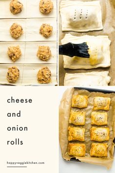 Homemade cheese and onion rolls with a moist and tasty filling! These are easy to assemble and make a delicious vegetarian alternative to sausage rolls. Vegetarian Pastries, Vegetarian Pizza, Vegetarian Recipes, Cooking Recipes, Microwave Cookies, Cheesy Mashed Potatoes, Frozen Puff Pastry, Homemade Cheese, Sausage Rolls