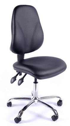 Juno Chrome Vinyl High Back Operator Chair #chairs #officechairs #leatherchairs #furniture