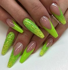 Neon nail art design makes your nails bright and shiny. The energy you can see in neon nails. When you wear neon nails, you can choose yellow. This is an attractive article. Today, we have collected 77 stunning yellow neon nail art designs to beau Glam Nails, Dope Nails, Neon Nails, My Nails, Stiletto Nails, Matte Nails, Glitter Nails, Neon Nail Designs, Acrylic Nail Designs