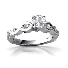 White Topaz Over And Under 14K White Gold Ring R26315RD - front view