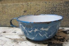 Antique Enamelware Cup or Handled Soup Bowl by TheOldTimeJunkShop