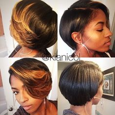 STYLIST FEATURE  This #bobcut✂️ and style by #DetroitStylist @kianicol on #MUA @faschaniecesta is beautiful She looks GORGEOUS #VoiceOfHair ========================= Go to VoiceOfHair.com ========================= Find hairstyles and hair tips! =========================