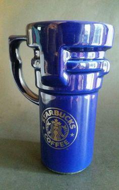 Starbucks Cobalt Blue Ceramic Travel Coffee Mug Silver Mermaid Logo  #Starbucks