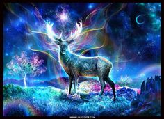 The Guiding Light.A new piece :) Thank you all again for the recent support!    http://www.digitalvisionaryart.co.uk/master-class-digital-art-e-course-1-year-membership/    www.louisdyer.com    #art #crystals #space #stag #light