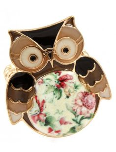BROWN OWL GOLD LADIES FASHION STRETCH RING - View All Rings - Rings - Jewellery