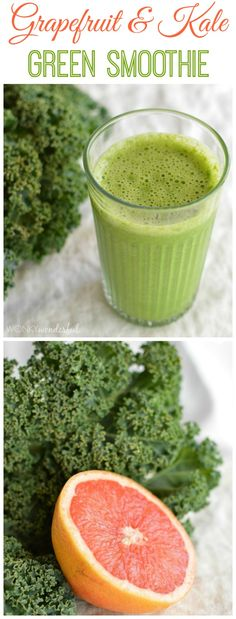 Grapefruit and Kale Green Smoothie Recipe – Healthy – Detox – Cleanse – wonkywon… Smoothie Legume, Smoothie Detox, Green Smoothie Recipes, Smoothie Drinks, Cleanse Detox, Detox Drinks, Green Smoothies, Detox Juices, Juice Cleanse