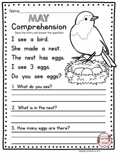 COMPREHENSION - kindergarten reading - May no prep worksheets and activities - end of the year in kindergarten - spring short stories for guided reading First Grade Reading Comprehension, Reading Comprehension Worksheets, Comprehension Questions, Reading Response, English Worksheets For Kids, English Lessons For Kids, Spanish Lessons, Math Lessons, English Teachers
