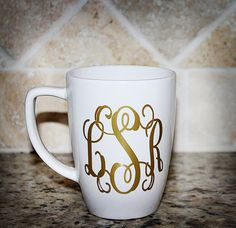 Monogrammed Coffee Mug - Personalized Cup- Initial Coffee Cup on Etsy, $13.94 CAD
