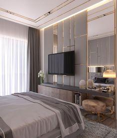 Contemporary Bedroom Interior Design That Very Cozy 13 Crystal Luxury Bedroom Design, Master Bedroom Design, Master Suite, Bedroom Tv Unit Design, Bedroom Designs, Latest Bedroom Design, Tv In Bedroom, Home Decor Bedroom, Bedroom Ideas