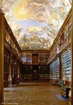 The wonderful ceiling of ne of the rooms of Strahov Monastery library. Hradcany. Prague, Czech Republic.