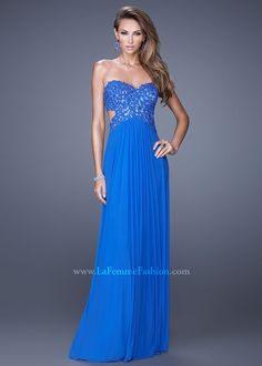 La Femme 20733 Beaded Cut Out Dress