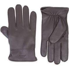 ARMANI COLLEZIONI Textured deerskin gloves ($235) ❤ liked on Polyvore featuring men's fashion, men's accessories, men's gloves, black and armani collezioni