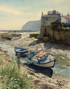 Low Tide at Staithes (watercolor by Brian Robinson)
