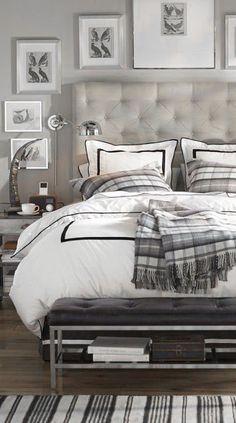 ♅ Dove Gray Home Decor ♅  grey tufted headboard