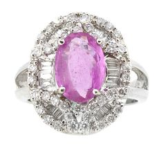 Ring (68) Round and Baguette Diamonds .95ct.tw. Center Pink Sapphire 2.92ct. 18K