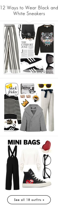 """12 Ways to Wear Black and White Sneakers"" by polyvore-editorial ❤ liked on Polyvore featuring waystowear, blackandwhitesneakers, adidas, Alice + Olivia, Kenzo, Mansur Gavriel, Muse, brunch, Victoria Beckham and Yves Saint Laurent"