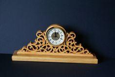 Fretwork Ornate Wood Mantel Clock Scroll Saw by woodworkfiddler
