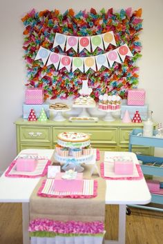 Love the colored tissue paper backdrop for a party/shower...or even as a backdrop for a photo shoot.