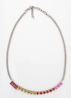 Cote D' Azur Rue de Collet multicolor stone necklace on silver snake chain ($95)