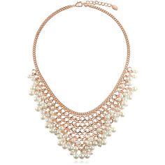 BERRICLE Rose Gold-Tone White Simulated Pearl Fashion Bib Statement... (135 RON) ❤ liked on Polyvore featuring jewelry, necklaces, statement necklace, white, women's accessories, round necklace, faux pearl statement necklace, bib statement necklace, fake pearl necklace and fake pearl jewelry